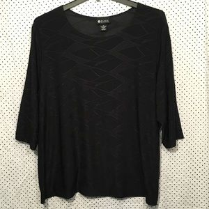 Maggie Barnes Black Textured 3/4 Sleeve Blouse